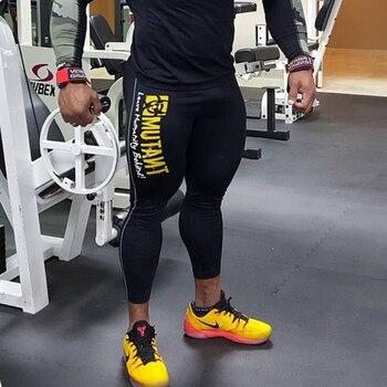 Leggings da uomo pantaloni Skinny palestre Fitness Bodybuilding  1