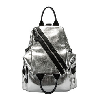 Fashion Soft Leather Backpack Women 2019 Real Leather Silver Travel Bag Hot Brand Designer School Bags for Teenage Girls