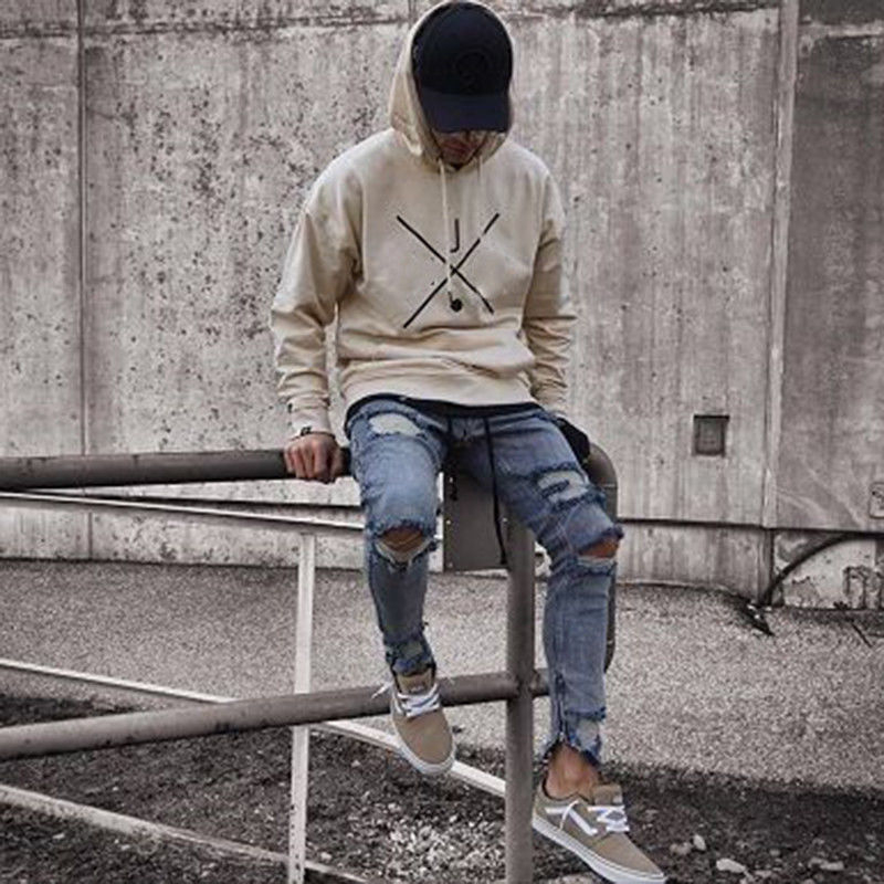 Hirigin Mens Cool Designer Brand Black Jeans Skinny Ripped Destroyed Stretch Slim Fit Hop Hop Pants With Holes For Men
