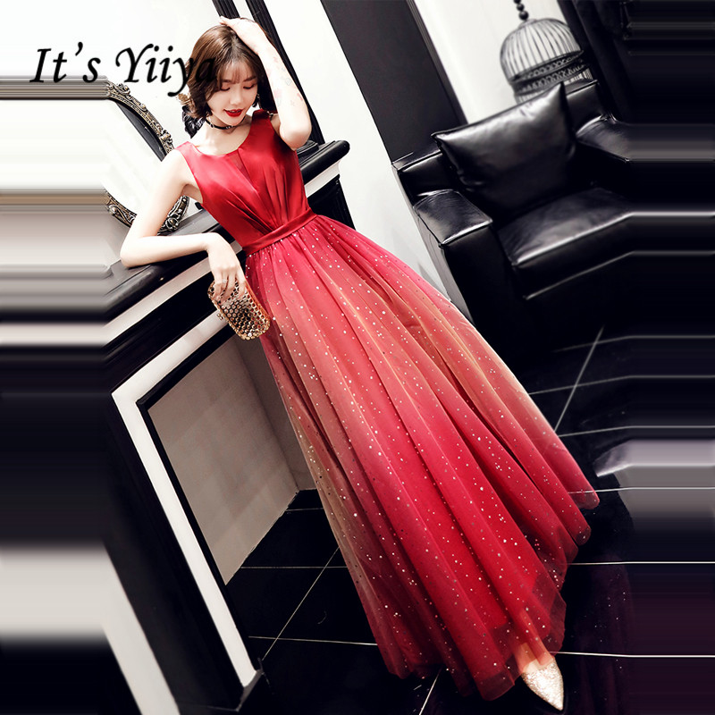 It's Yiiya Evening Dress LF148 Burgundy Gradient Evening Dresses Shining Long Plus Size Formal Gowns Sleeve Robe De Soiree