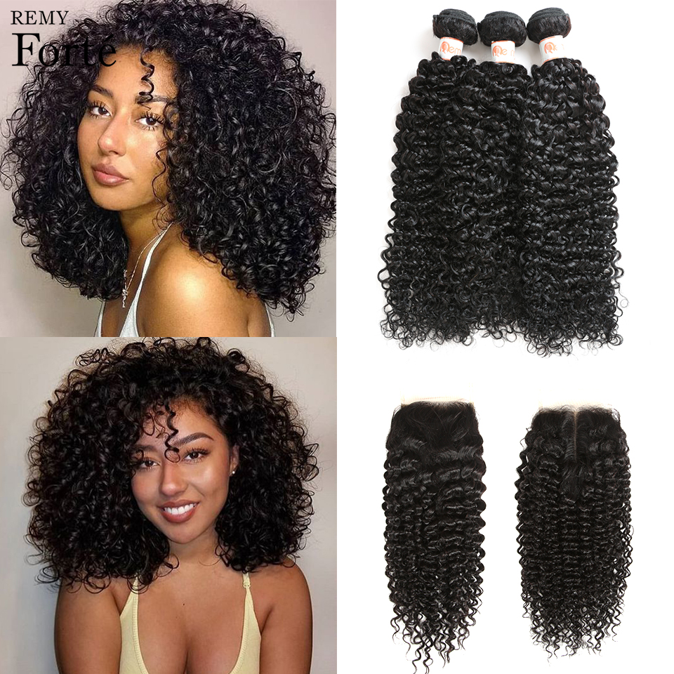 Curly-Bundles Closure Weave Brazilian-Hair Remy Forte 10-30inch with 3/4 Fast-Usa title=