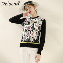 Delocah Runway Fashion Autumn Winter Black Knitting Sweaters Womens Long Sleeve Floral Printed Vintage Pullovers
