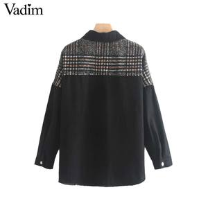 Image 2 - Vadim women stylish plaid patchwork jacket pockets long sleeve coat female casual oversized chic outwear tops mujer CA566