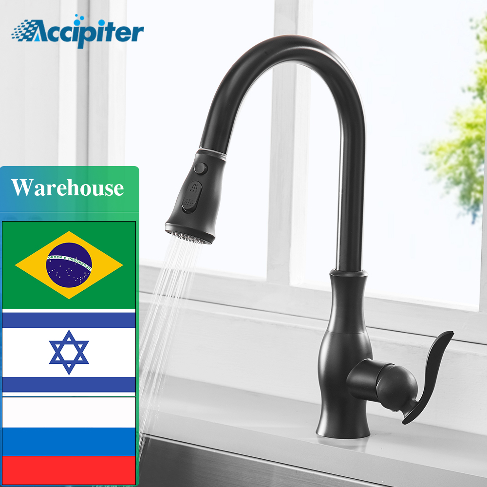 Pull Out Kitchen Faucet Brass Mixer Tap Sink Black Faucet With Pull Out Spray Single Handle High Arc Chrome Kitchen Tap