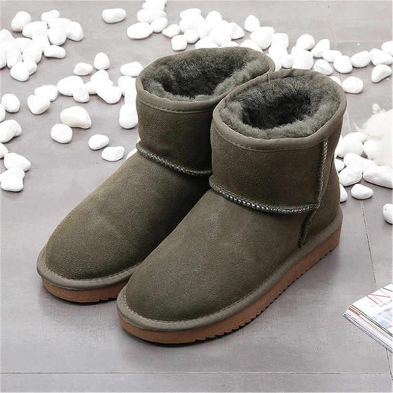 Hakiki deri kar botları kadınlar sıcak yün kış botları su geçirmez kaymaz kış ayakkabı kadın inek süet yarım çizmeler kadın çizme