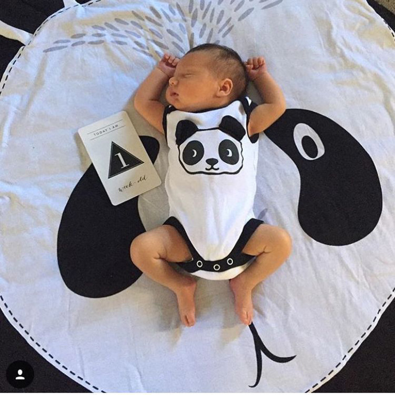 INS New Cartoon Panda Cotton Children Crawling Mat Fox Game Mat Round Carpet Children Room Decorations