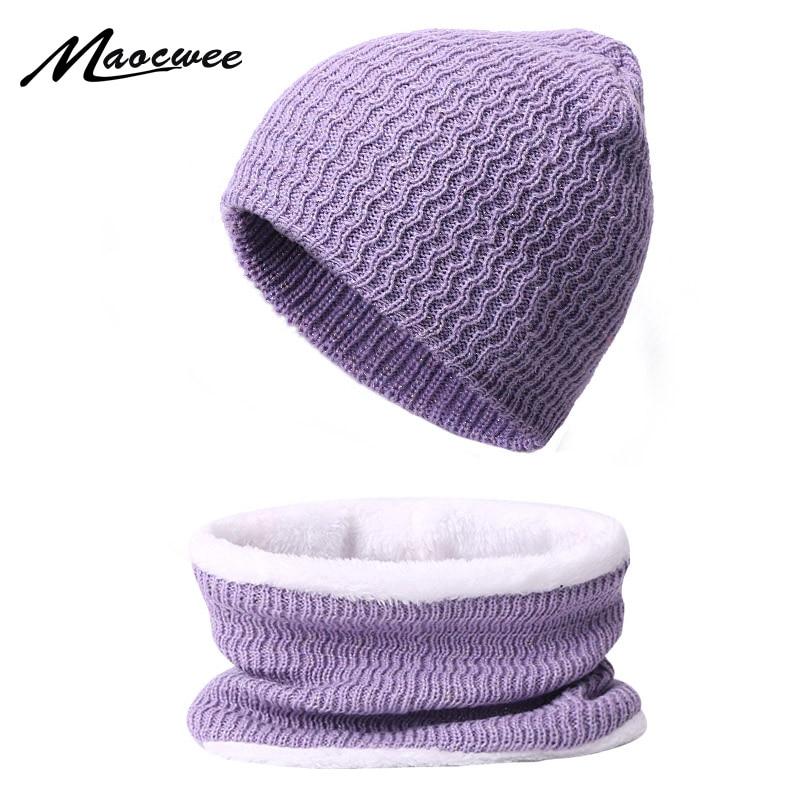 Winter Scarf Beanie Hat Set For Men Women Solid Color Female Hats Scarves 2 PCS Set Outdoor Knitted Warm Plus Velvet Bonnet Caps