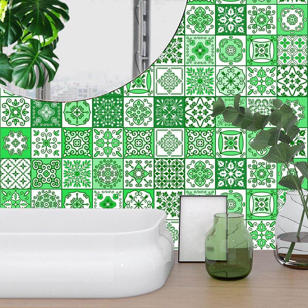 10/15/20/30cm vert bande carreaux autocollant Mural salle de bains cuisine escaliers placard décor à la maison papier peint Peel & Stick vinyle Art Mural