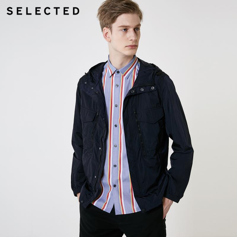 SELECTED Men's Spring Hooded Multi-pocket Workwear Outwear New Casual Functional Jacket S | 419221509