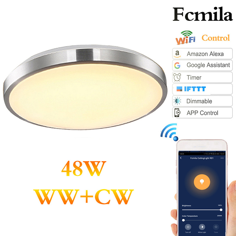 48W Modern LED Ceiling Lamp WiFi Smart Simple Bedroom Living Room Kitchen Lighting Fixture WiFi Dimming Remote Control