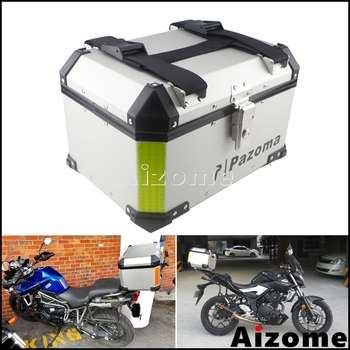 Universal Motorcycle Top Case Aluminum 45L Cargo Tail Box Motorbike Street Bike Rear Luggage Lock Topcase For BMW Honda Triumph