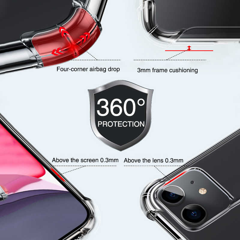 Lovebay a prueba de golpes a prueba de parachoques de la caja del teléfono para iPhone 11 Pro X XR XS Max 7 7 6 6s Plus 5S SE Airbag de silicona claro funda trasera suave TPU