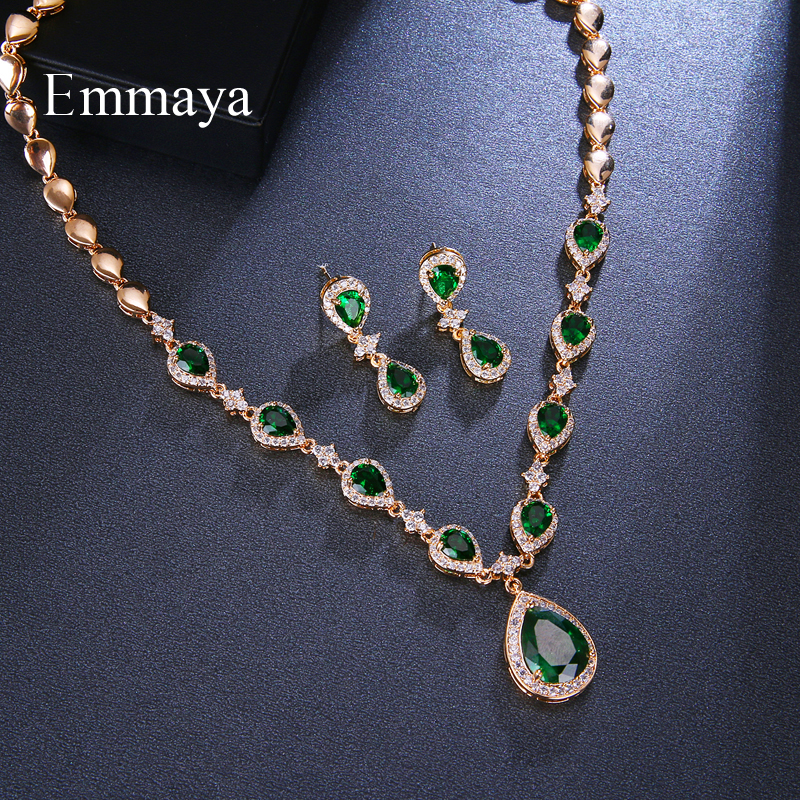 Image 4 - Emmaya New Arrival Rose Gold Green Waterdrop Appearance Zirconia Charming Costume Accessories Earrings And Necklace Jewelry SetsBridal Jewelry Sets   -