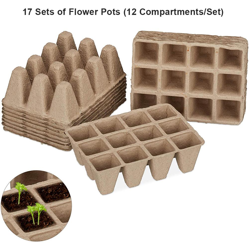 17PCS Paper Flower Pot Seed Starter Tray Biodegradable Peat Pots Seedling Germination Trays Organic Plant Seed Starter Tray Kit
