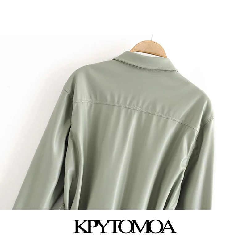 KPYTOMOA 여성 2020 스트리트 패션 PU 인조 가죽 벨트 자켓 코트 빈티지 긴 소매 주머니 여성 겉옷 세련된상의