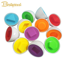 6PCS Eggs Early Educational Montessori Toys Color Shape Match Cognition Preshcool Learning Kids Toys for Girls Boys