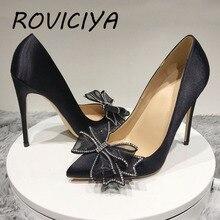 Bow 12cm pumps spring pointed toe high heels ladies shallow women shoes party evening nightclub silk black BM022 ROVICIYA