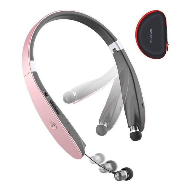 AMORNO طوي سماعات بلوتوث سماعات رأس لاسلكية قابل للسحب سماعات الأذن Sweatproof إلغاء الضوضاء سماعات ستيريو