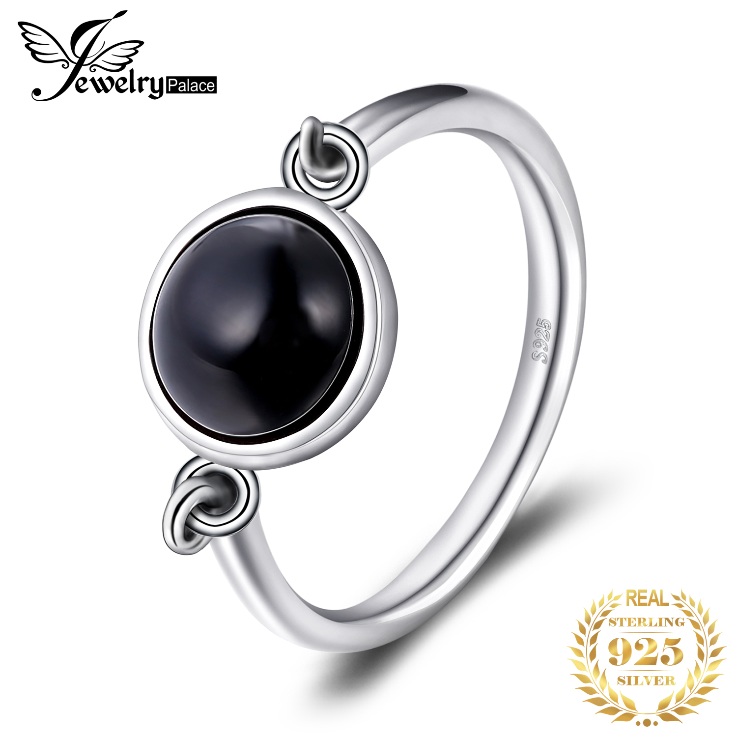 JewelryPalace Genuine Black Onyx Ring Solitaire 925 Sterling Silver Rings For Women Engagement Ring Silver 925 Gemstones Jewelry