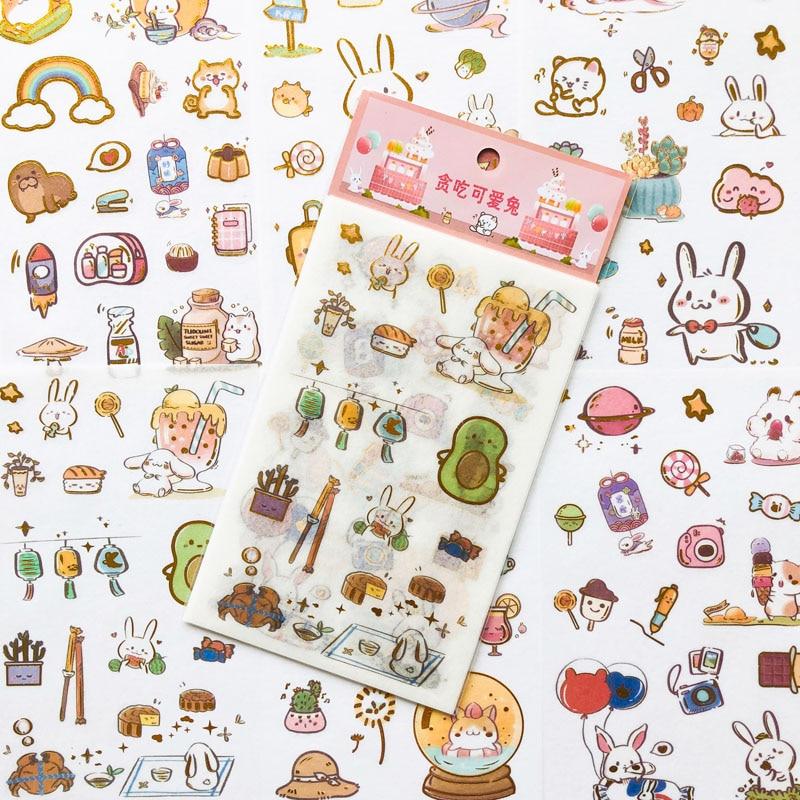6 Sheets Cute Dessert Rabbit Golden Stamping Diary Stickers Paper Decorative Album Notebook Decor