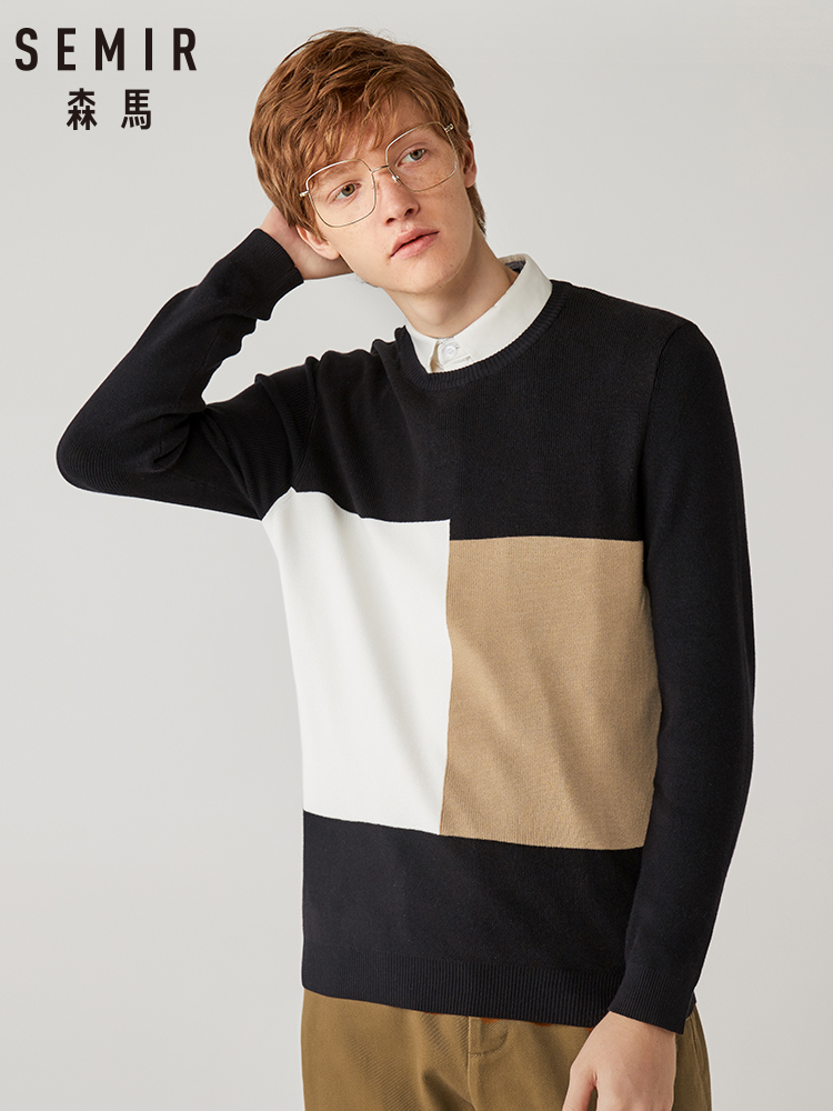 Semir Sweater Men New Fashion Fake Two-piece Collar Collar Color Sweater 2019 Personality Stitching Student Sweater Shirt Tide