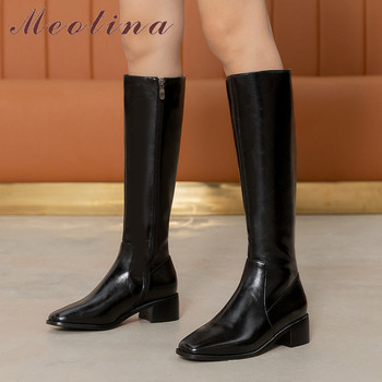 Meotina Genuine Leather Mid Heel Knee High Boots Women Shoes Square Toe Block Heels Zipper Ladies Long Boots Black Big Size 40 meotina cow suede high heel short boots ankle boots women shoes square toe block heels zipper boots ladies black winter size 43