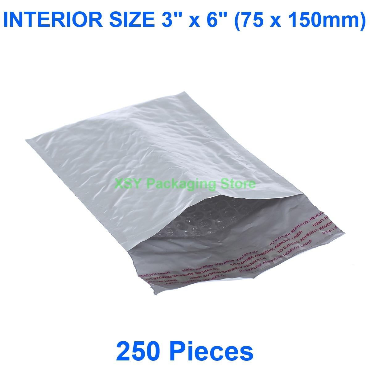 """250 шт. воздушно-пузырьковая плёнка объемные конверты внутренний размер 3 """"x 6"""" (75x150 мм) почтовые отправители маленькие почтовые пакеты"""
