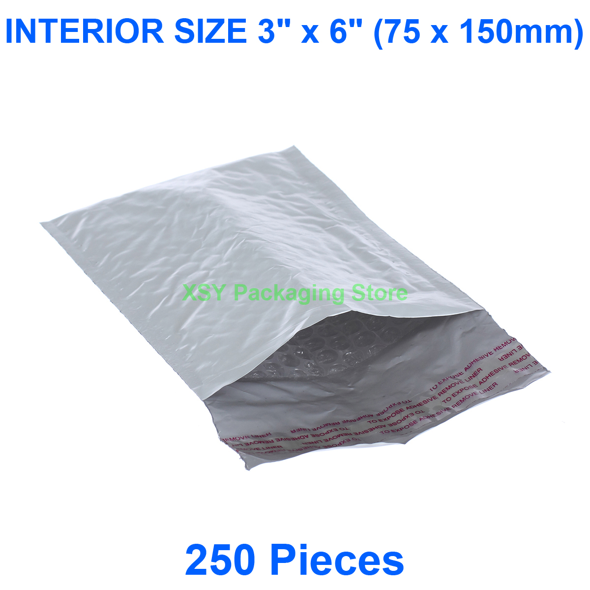 250 Pieces Poly Bubble Padded Envelopes INTERIOR SIZE 3
