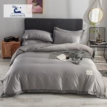 Liv-Esthete Luxury 100% Silk Healthy Dark Gray Bedding Set Duvet Cover Silky Bed Pillowcase Queen King Flat Sheet Home
