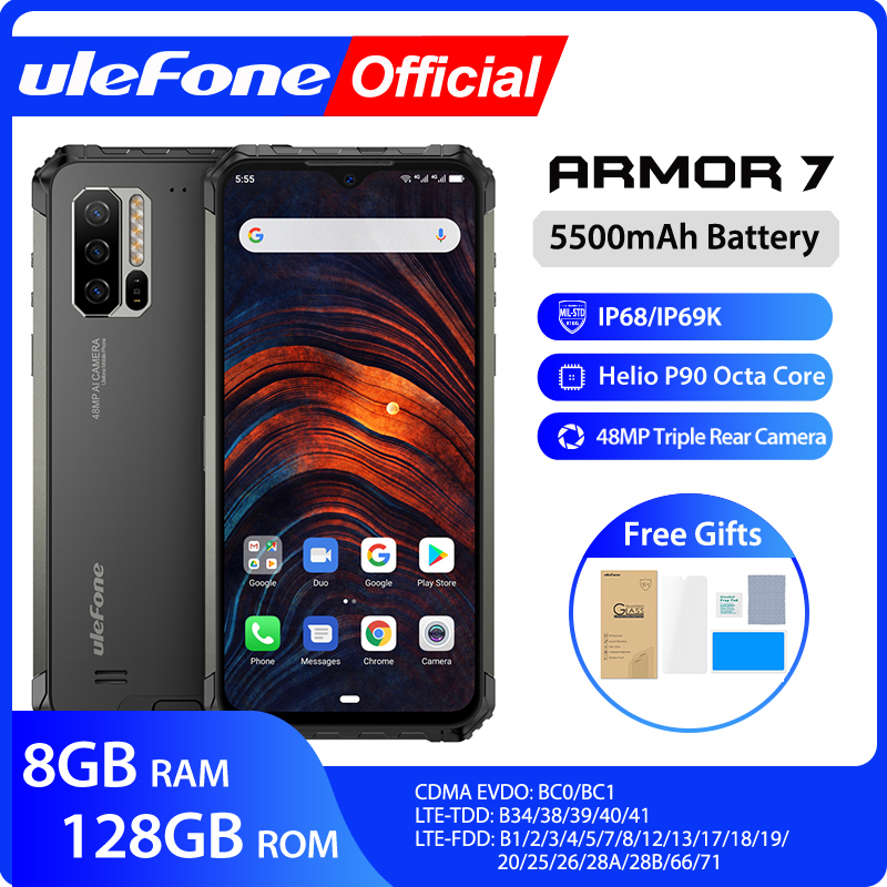 Ulefone Armor 7 IP68 Rugged Mobile Phone 2.4G/5G WiFi Helio P90 8GB+128GB Android 9.0 48MP CAM 4G LTE Global Version Smartphone