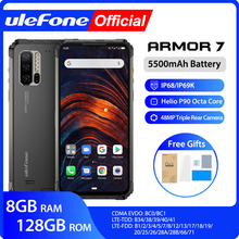 цена на Ulefone Armor 7 IP68 Rugged Mobile Phone 2.4G/5G WiFi Helio P90 8GB+128GB Android 9.0 48MP CAM 4G LTE Global Version Smartphone