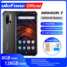 Ulefone ARMOR 7 IP68 โทรศัพท์มือถือ 2.4G/5G WiFi Helio P90 8GB + 128GB android 9.0 48MP CAM 4G LTE Global Version สมาร์ทโฟน(China)