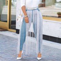 Trendy Tassel Skinny Denim Jeans 2019 Spring Autumn Stretchy Jeans Blue High Waist Denim Long Pencil Pants Trousers Big Size 2XL