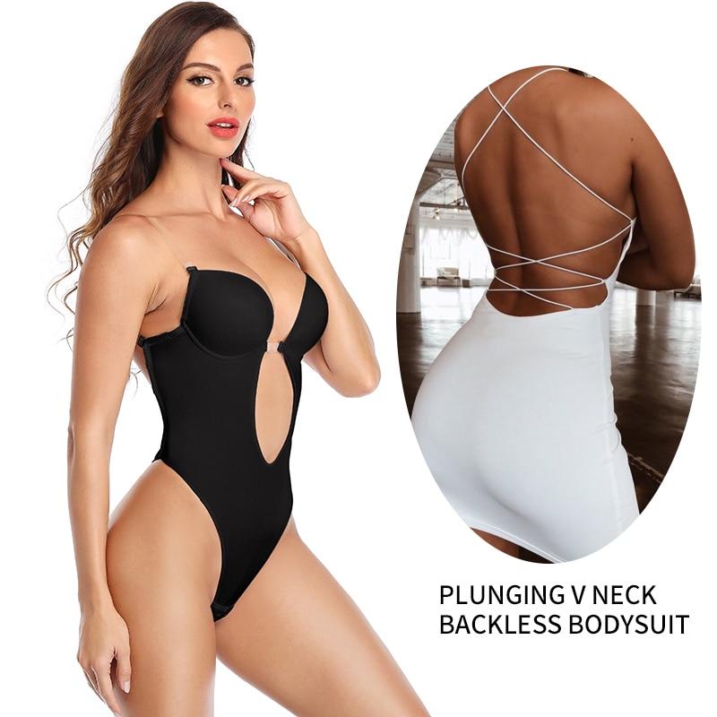 Women Plunging V Neck Body Shaper Backless Bodysuit Shapewear Backless Seamless U Plunge Bodysuit Bridal Thong Shaper 1