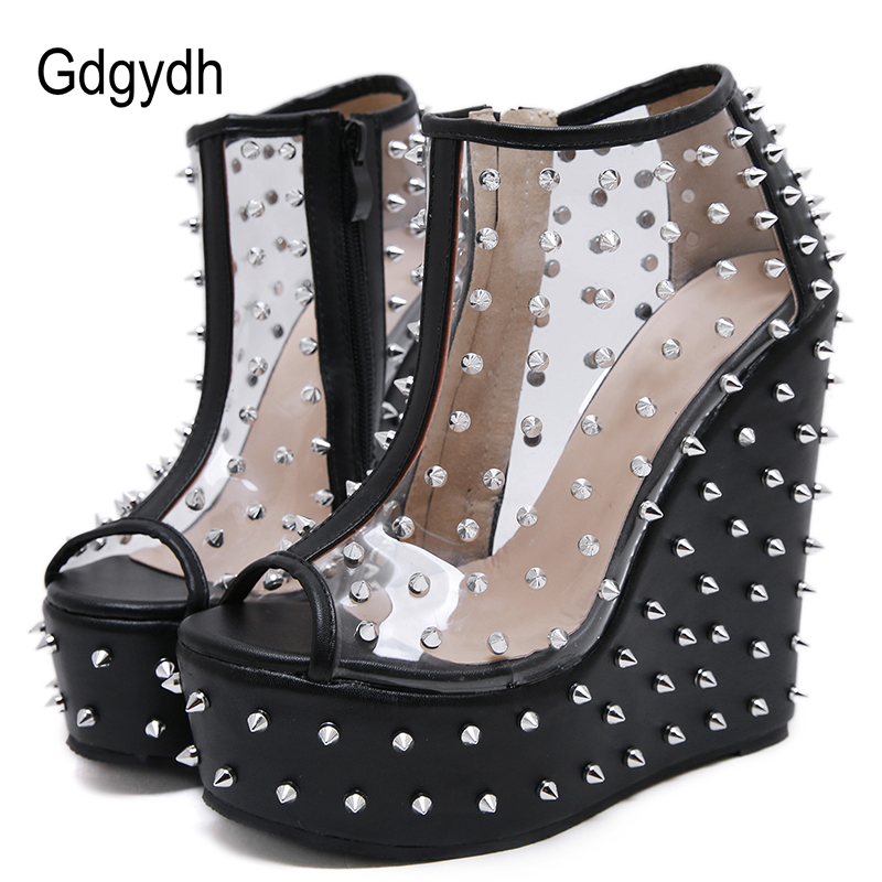 Gdgydh 2020 Summer Rivets Boots Open Toe Wedges Platform Female Ankle Boots Patent Leather Metal Accessories Short Boots Size 40