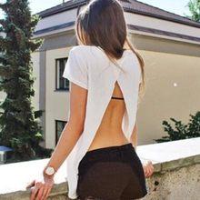 Sexy Harajuku Camiseta Weiche Zurück Slit hemd t hemd Neue Frauen Sommer kurzarm Backless t dames kleding tops