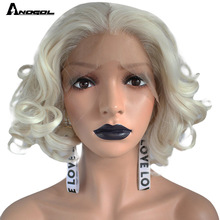 Wigs Anogol Lace-Front Deep-Peruca Short Platinum-Blonde Full-Hair Synthetic Bob Perruque