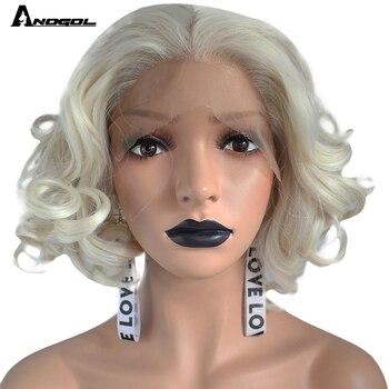 цена на Anogol High Temperature Fiber Deep Peruca Perruque Short Body Wave Full Hair Wigs Platinum Blonde Bob Synthetic Lace Front Wig
