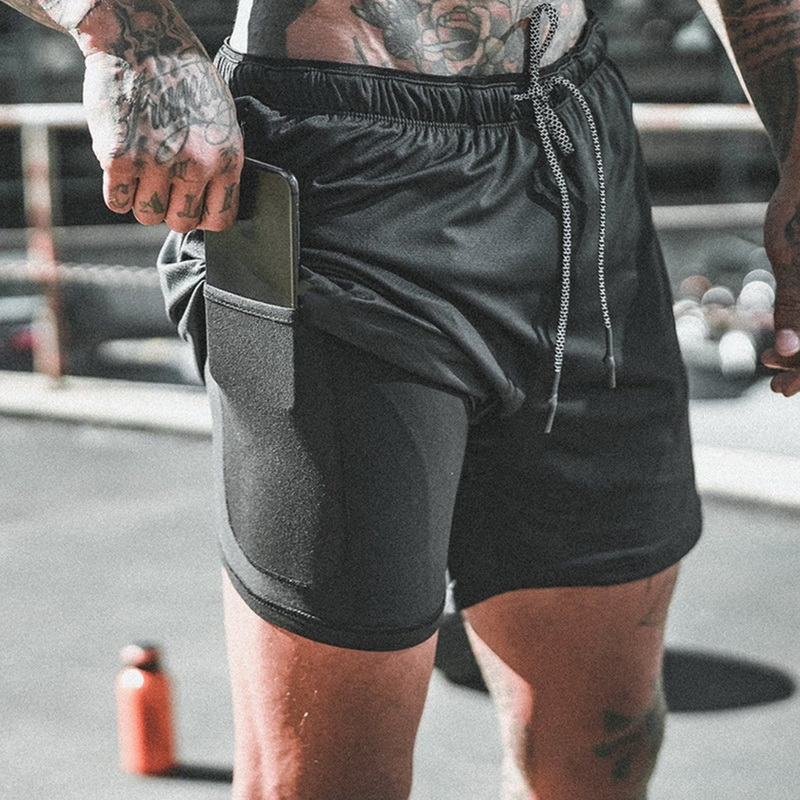 Men's 2 In 1 Joggers Shorts Security Pockets Leisure Shorts Quick Drying Sport Shorts Built-in Pockets Hips Hiden Zipper Pockets