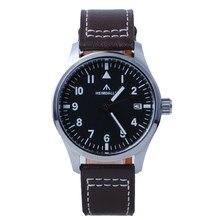 Мужские часы-авиаторы HEIMDALLR 39 мм с черным циферблатом и сапфировым стеклом, светящиеся водонепроницаемые часы 150 м NH35A, мужские часы с автома...
