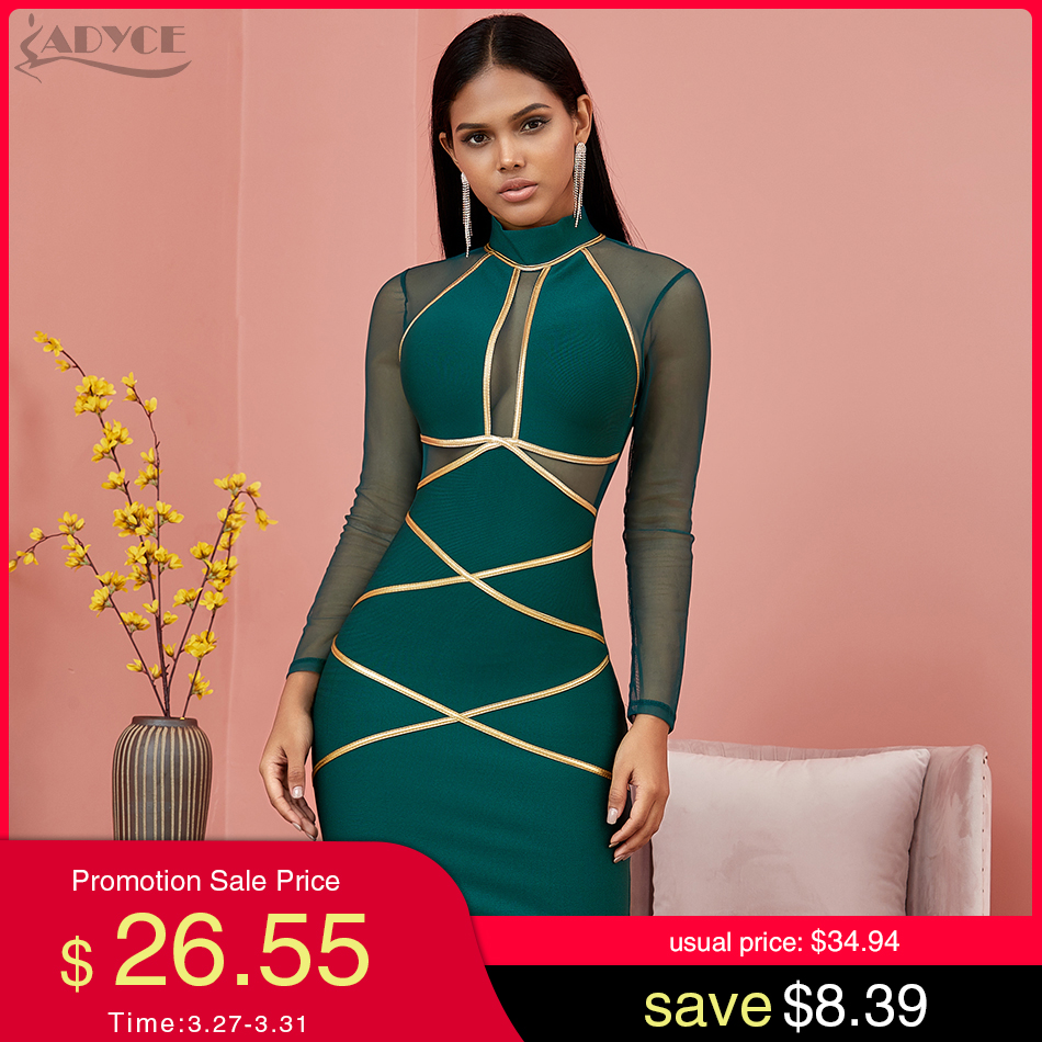 Adyce 2020 New Spring Long Sleeve Green Lace  Bandage Dress Women Sexy Hollow Out Club Mini Celebrity Evening Runway Party Dress