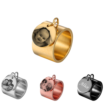 Personalized Name Rings for Women Round Engraved Photo Custom Nameplate Letter Stainless Steel Male Female Ring Jewelry