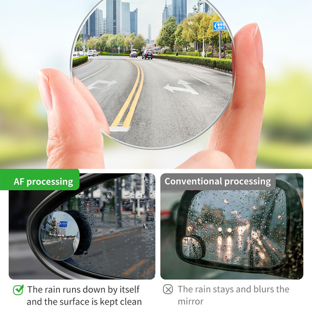 Baseus 2Pcs Car 360 Degree HD Blind Spot Convex Mirror Auto Rearview Mirror Wide Angle Vehicle Parking Rimless Mirrors
