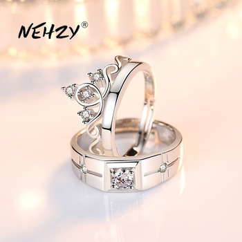925 sterling silver new jewelry fashion couple ring engagement wedding anniversary gift woman man crown open ring 1