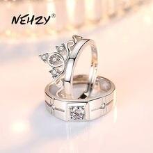 NEHZY-bague de couple, en argent sterling 925, à la mode, cadeau d'anniversaire de mariage, couronne ouverte, pour femmes et hommes, nouvelle collection