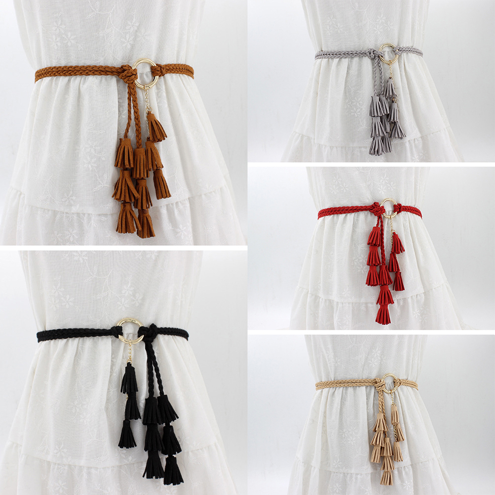 Fashion Women Solid Color Braided Tassel Belt 2019 New Boho Girls Thin Waist Rope Knit Belts For Dress Waistbands Accessories