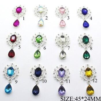 10 sztuk/partia 45*24MM stop metali przystawki Rhinestone Flatback przyciski biżuteria do szycia odzieży ślubnej Diy akcesoria dekoracyjne