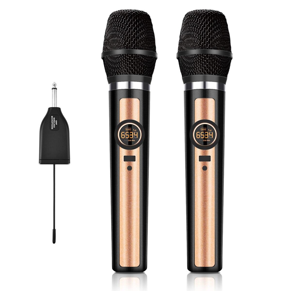 Microphone à main dynamique Uhf, adaptateur 3.5mm (double microphone) microphone fourrure système karaoké ordinateur KTV