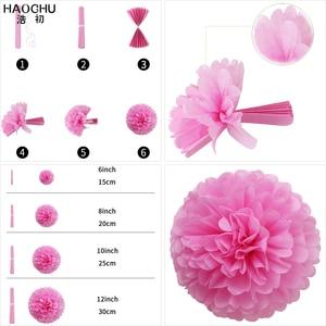 Image 5 - 9pcs/lot Paper Flower Pom Poms/Honeycomb Balls/Paper Lantern Hanging Decoration Wedding Baby Shower Birthday Party Engagement