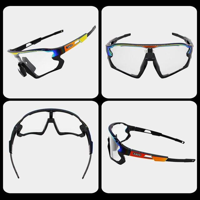 Óculos de sol preto photochromic ciclismo uv400 mtb bicicleta equitação tr90 esporte ao ar livre polarizado eyewear 1/5/6 lente 5
